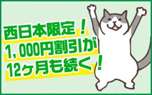 西日本限定1,000円×12か月割引キャンペーン