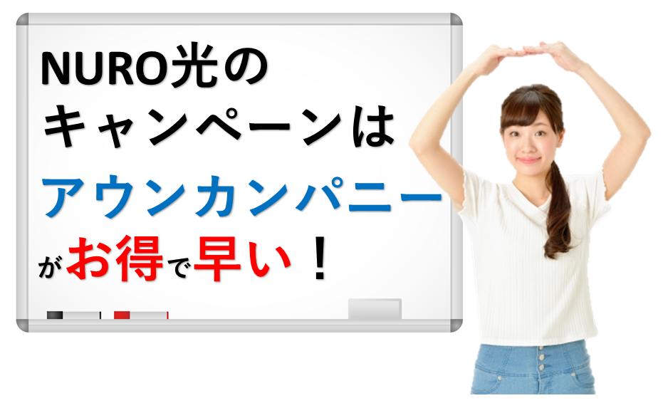 NURO光のキャンペーン!アウンカンパニーが一番お得で手続きも楽!
